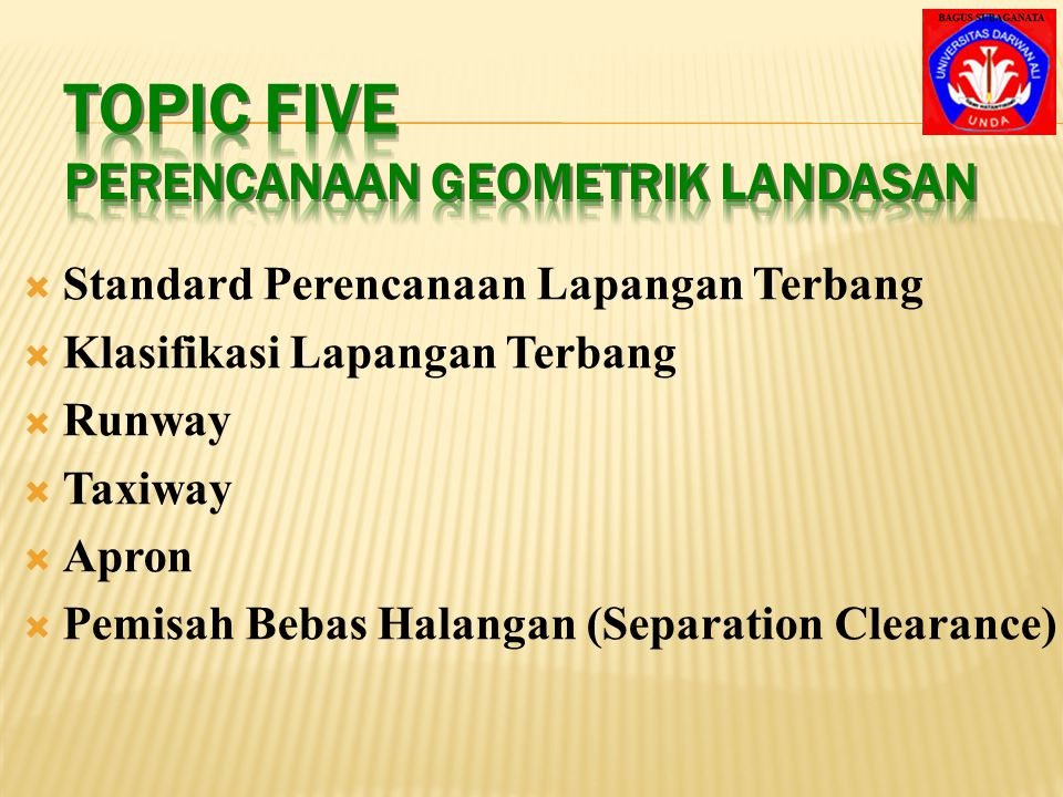 Topic Five Perencanaan Geometrik Landasan