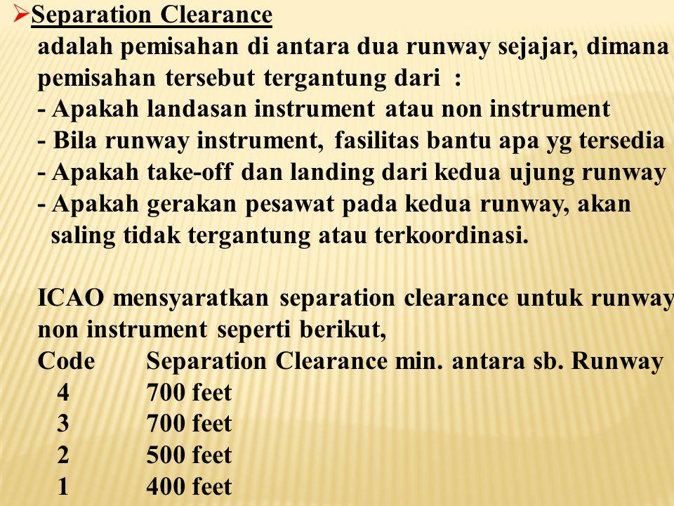 Separation Clearance adalah pemisahan di antara dua runway sejajar, dimana. pemisahan tersebut tergantung dari :