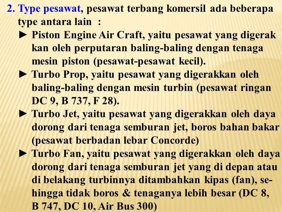 2. Type pesawat, pesawat terbang komersil ada beberapa