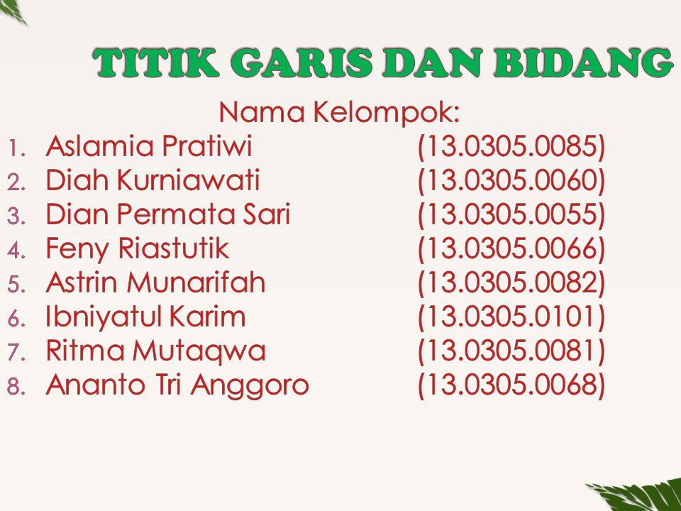 TITIK GARIS DAN BIDANG Nama Kelompok: Aslamia Pratiwi (13.0305.0085)