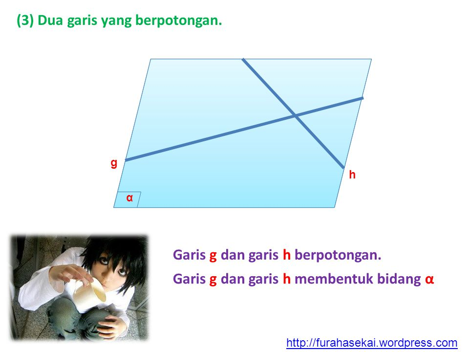 (3) Dua garis yang berpotongan.