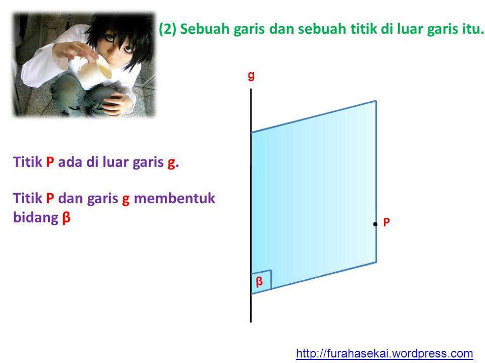 . P (2) Sebuah garis dan sebuah titik di luar garis itu.