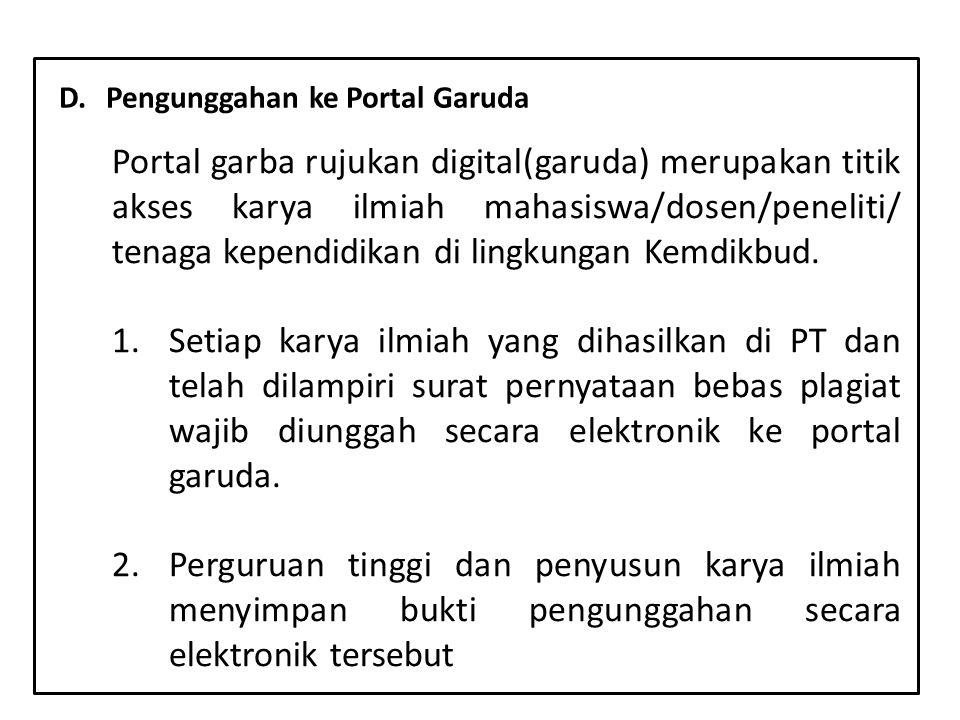 y D. Pengunggahan ke Portal Garuda.