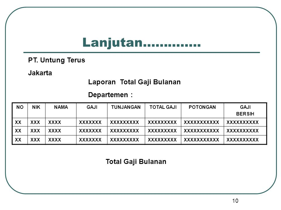 Lanjutan………….. PT. Untung Terus Jakarta Laporan Total Gaji Bulanan