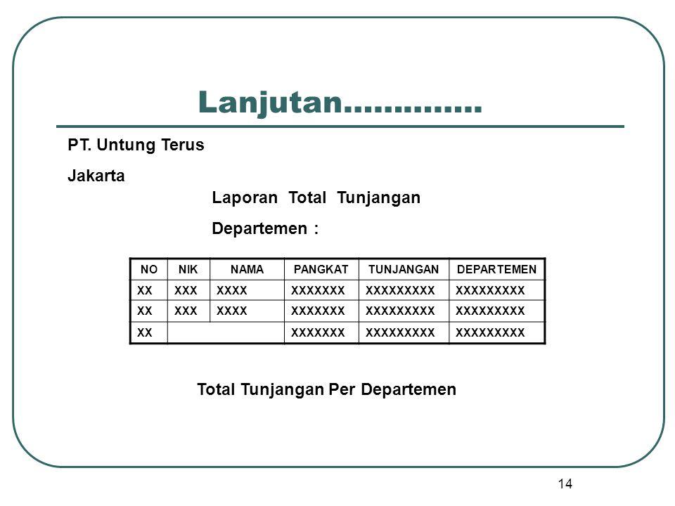 Total Tunjangan Per Departemen