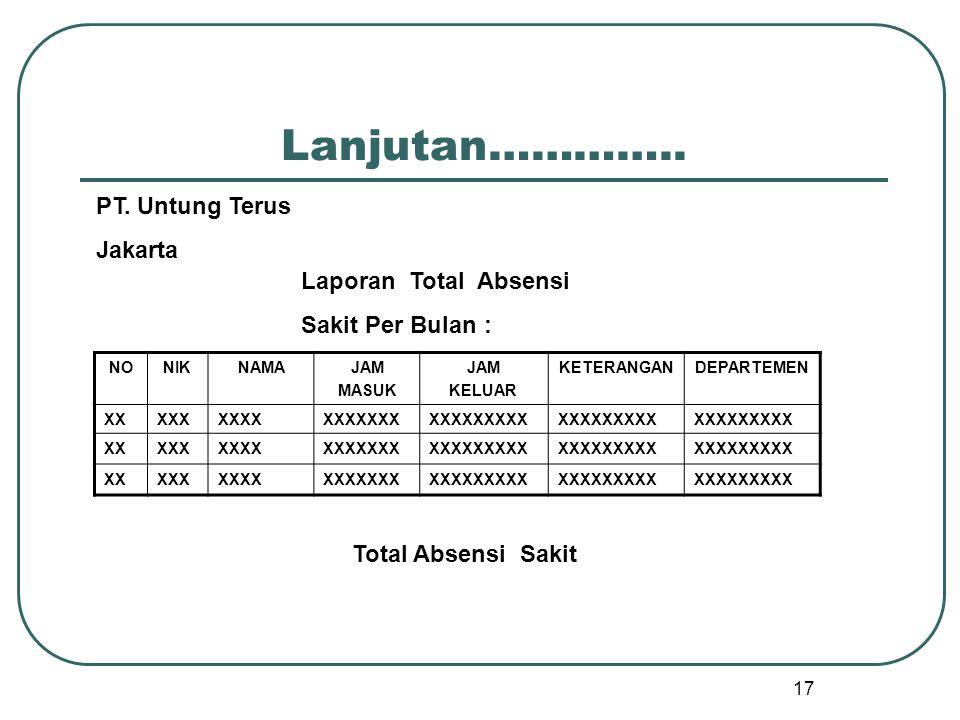 Lanjutan………….. PT. Untung Terus Jakarta Laporan Total Absensi