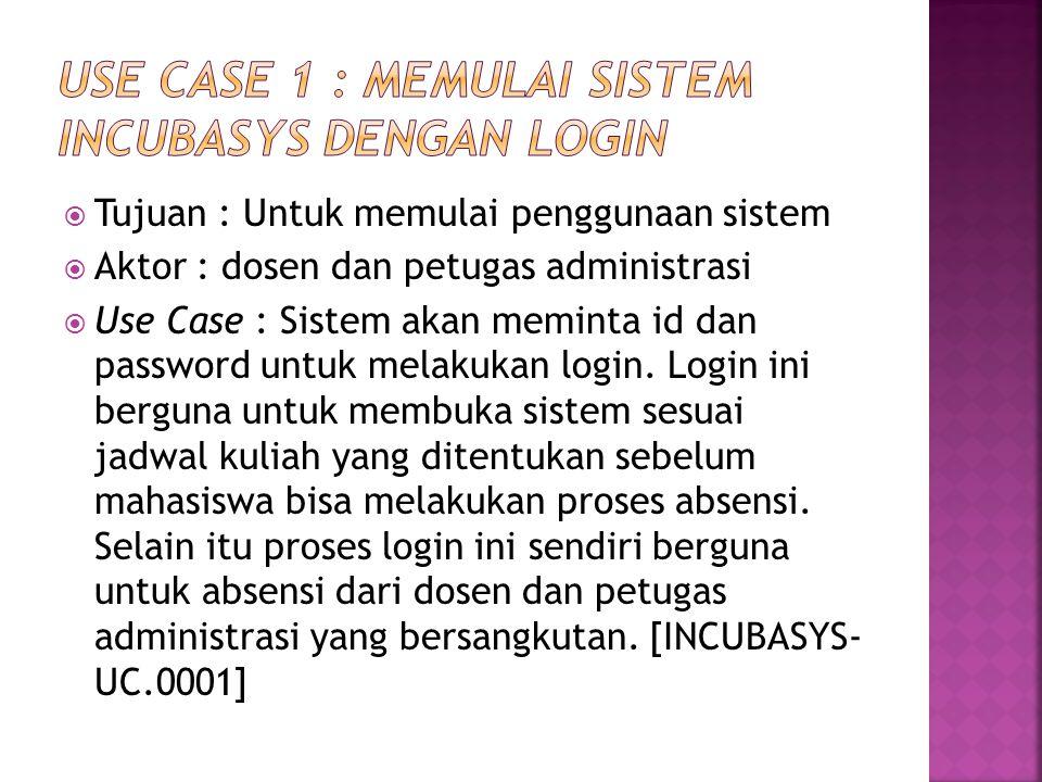 Use Case 1 : Memulai Sistem INCUBASYS dengan Login