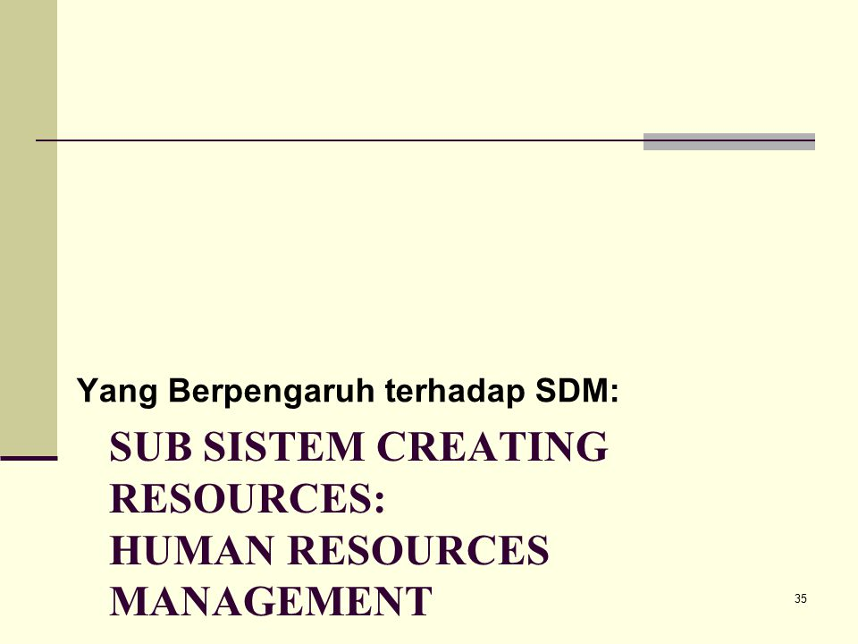 Sub sistem creating resources: human resources management