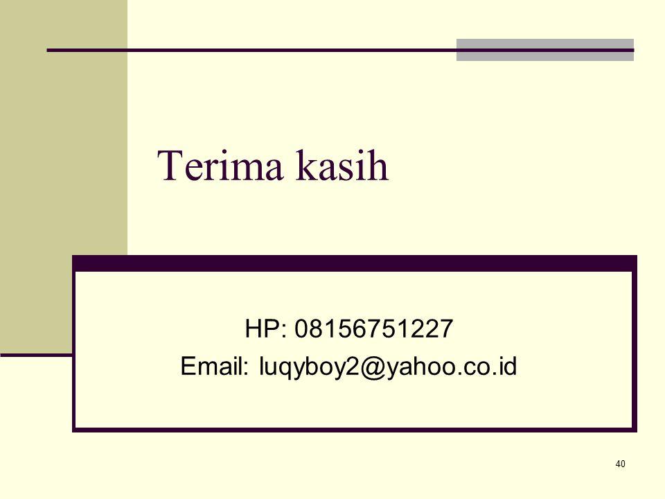 Terima kasih HP: 08156751227 Email: luqyboy2@yahoo.co.id