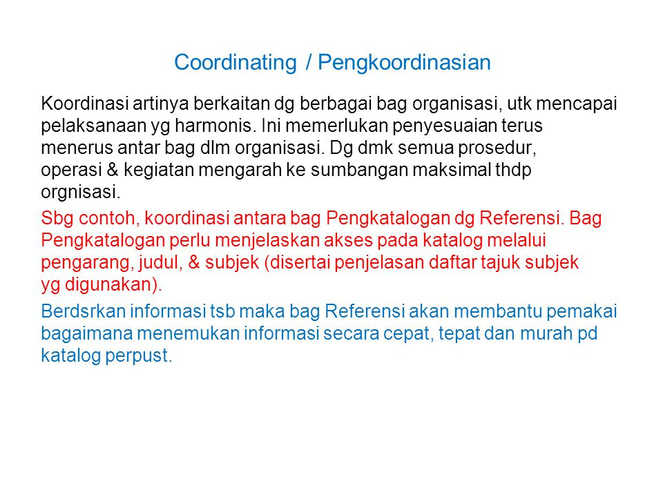 Coordinating / Pengkoordinasian