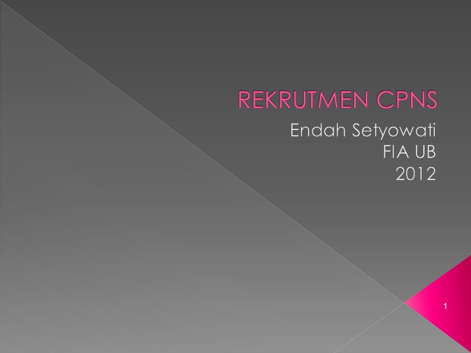 REKRUTMEN CPNS Endah Setyowati FIA UB 2012