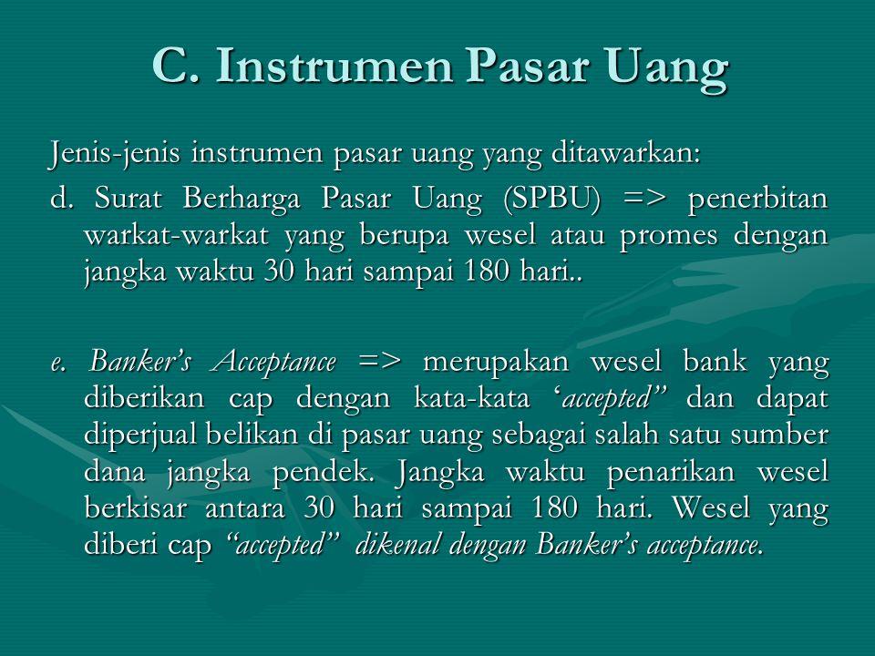 C. Instrumen Pasar Uang