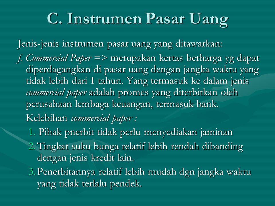 C. Instrumen Pasar Uang Jenis-jenis instrumen pasar uang yang ditawarkan: