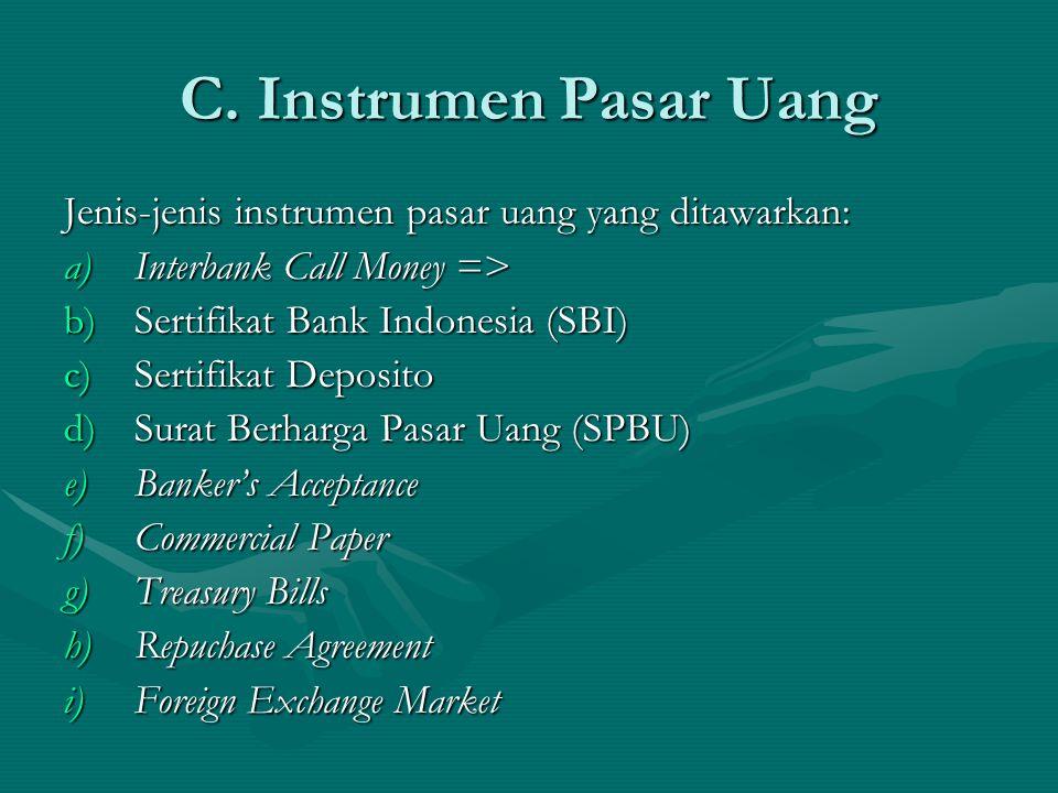 C. Instrumen Pasar Uang Jenis-jenis instrumen pasar uang yang ditawarkan: Interbank Call Money => Sertifikat Bank Indonesia (SBI)