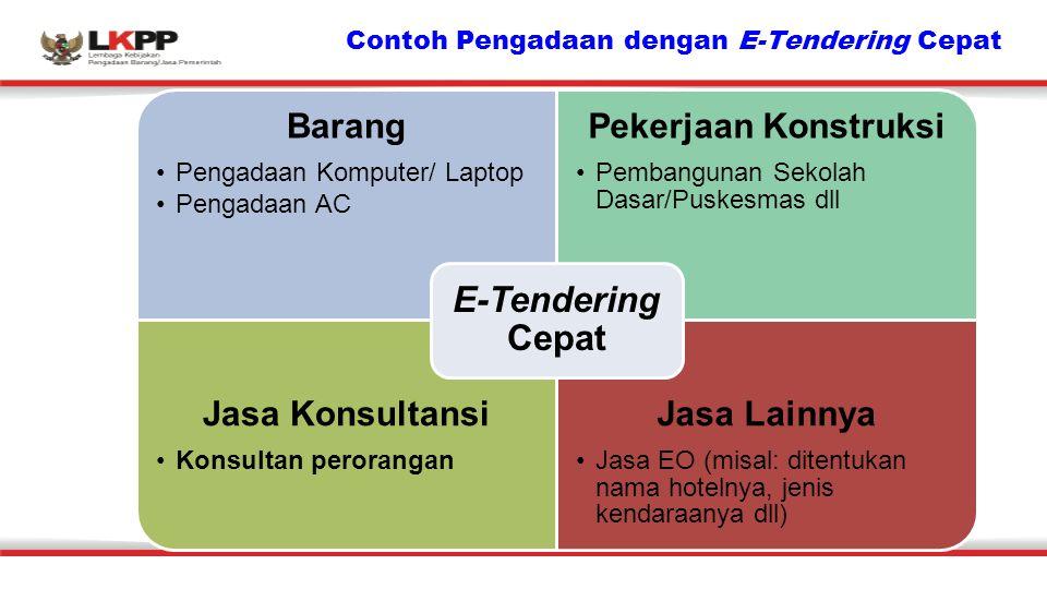 Contoh Pengadaan dengan E-Tendering Cepat