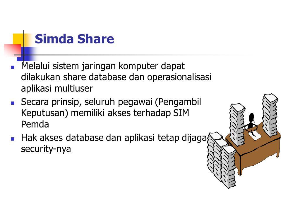 Simda Share Melalui sistem jaringan komputer dapat dilakukan share database dan operasionalisasi aplikasi multiuser.