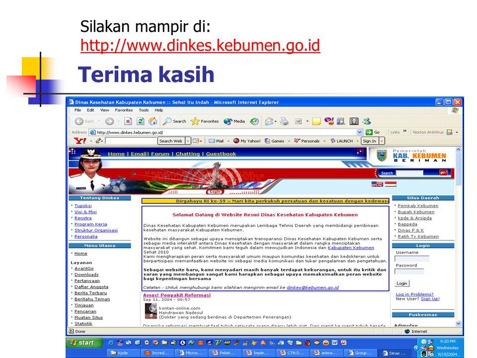 Silakan mampir di: http://www.dinkes.kebumen.go.id