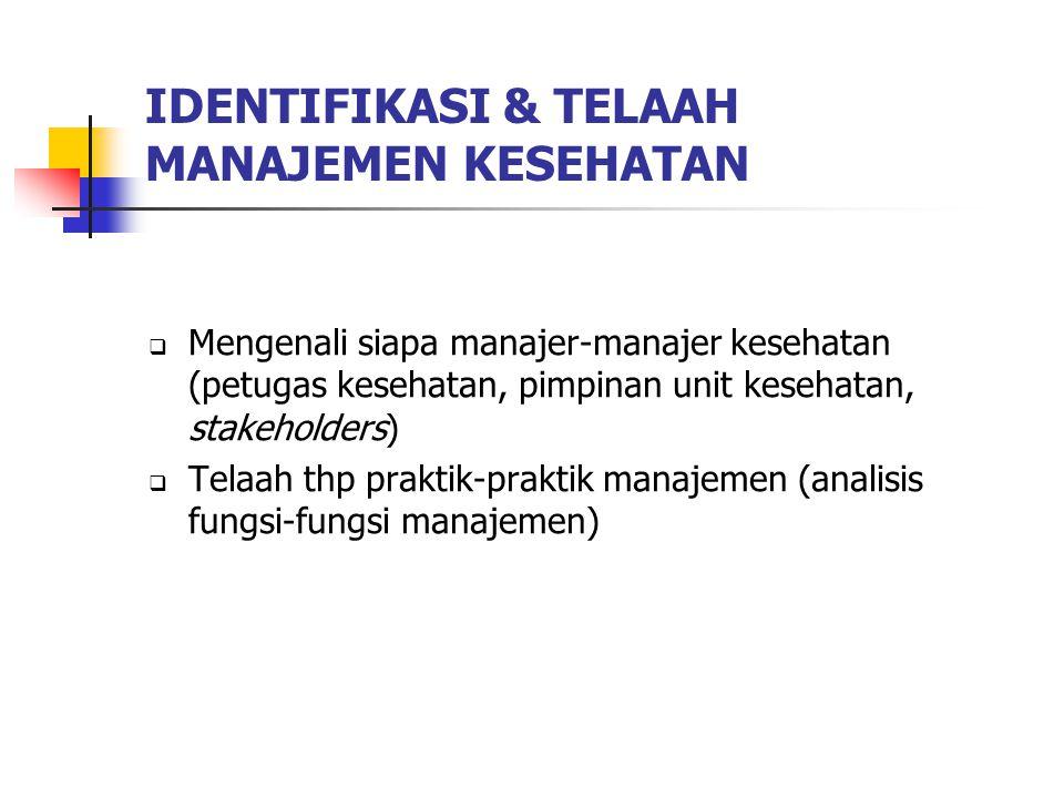 IDENTIFIKASI & TELAAH MANAJEMEN KESEHATAN