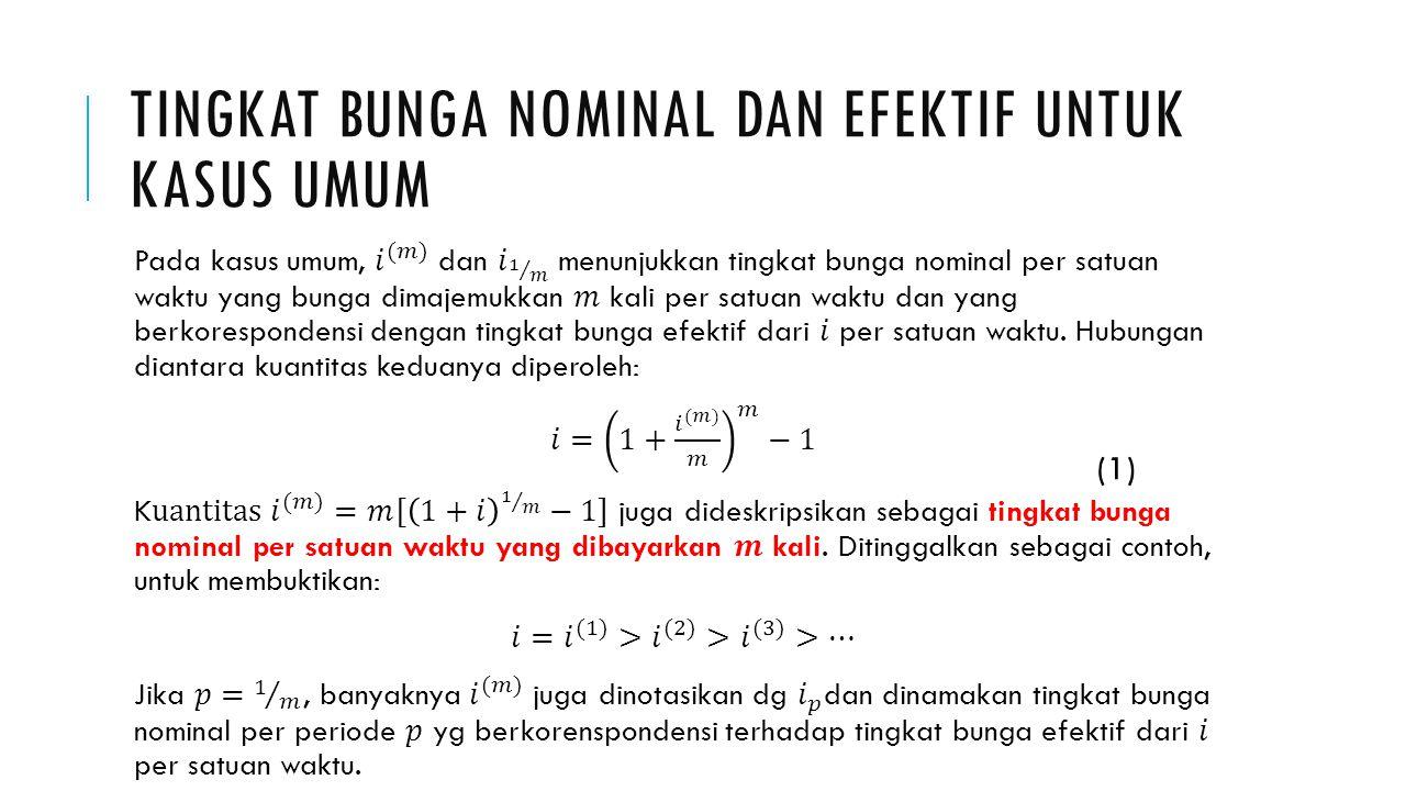 Tingkat bunga nominal dan efektif untuk kasus umum
