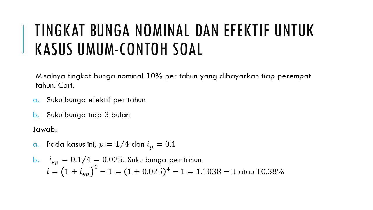 Tingkat bunga nominal dan efektif untuk kasus umum-contoh soal