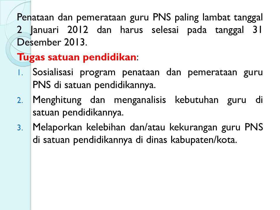 Penataan dan pemerataan guru PNS paling lambat tanggal 2 Januari 2012 dan harus selesai pada tanggal 31 Desember 2013.