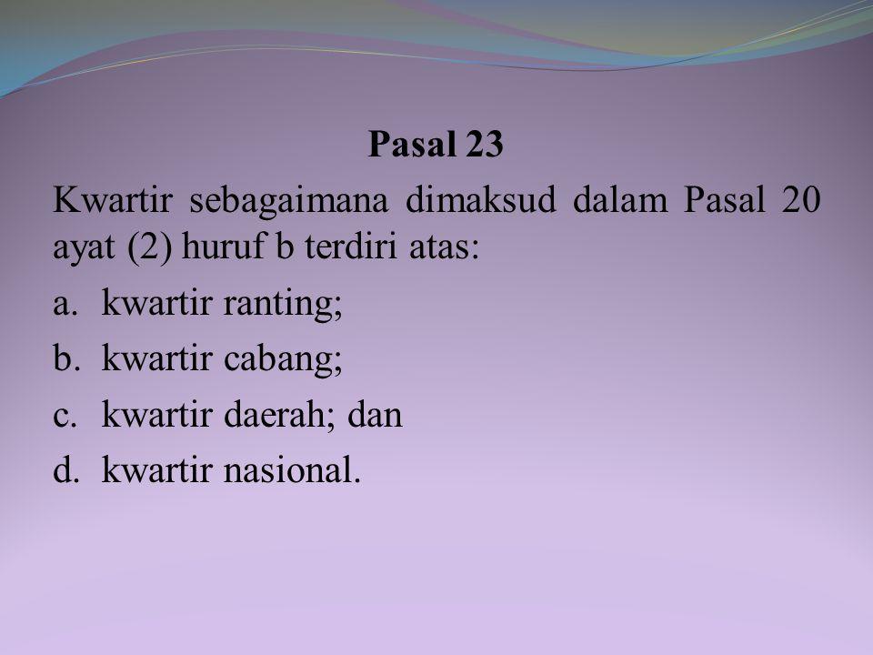 Pasal 23 Kwartir sebagaimana dimaksud dalam Pasal 20 ayat (2) huruf b terdiri atas: a. kwartir ranting;
