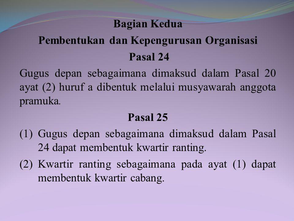 Pembentukan dan Kepengurusan Organisasi