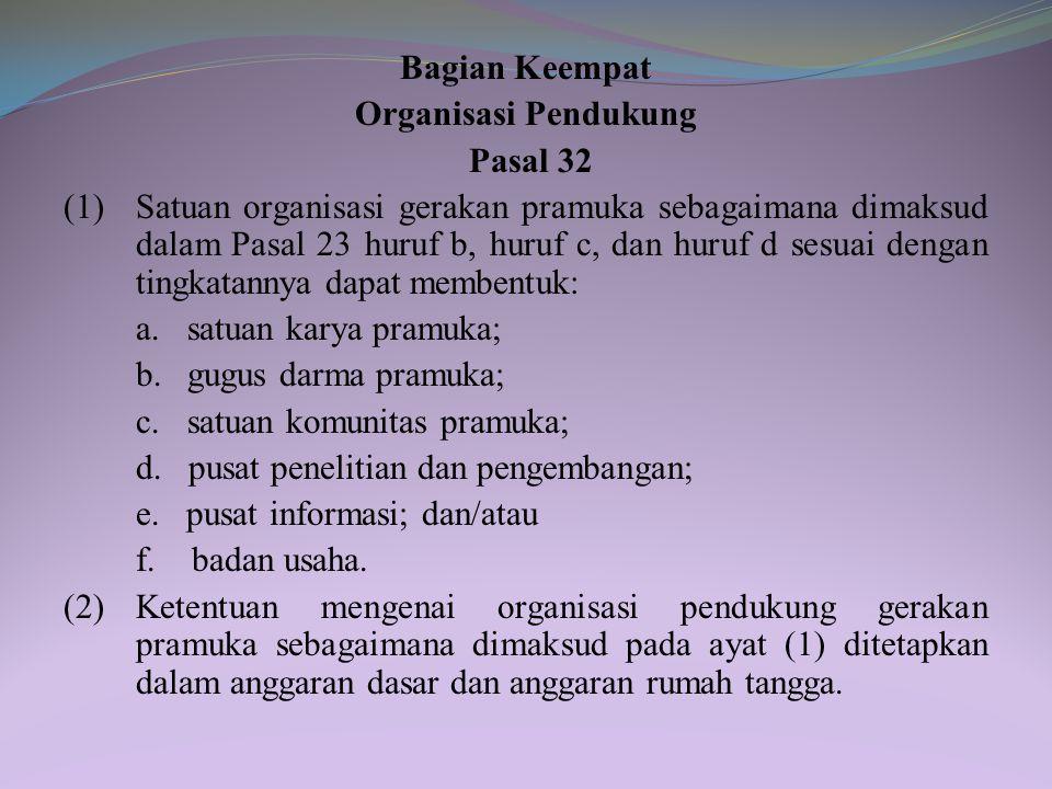 Bagian Keempat Organisasi Pendukung. Pasal 32.