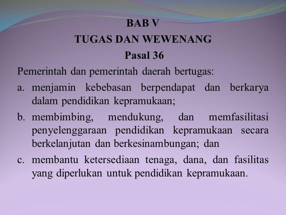 BAB V TUGAS DAN WEWENANG Pasal 36 Pemerintah dan pemerintah daerah bertugas: a.