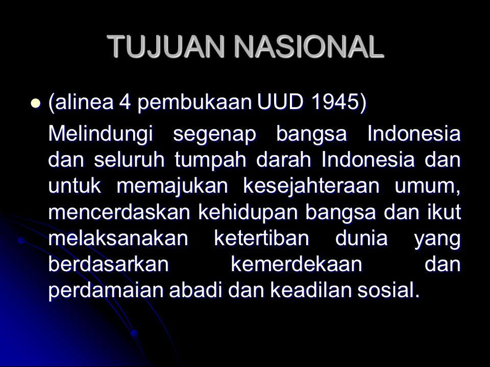 TUJUAN NASIONAL (alinea 4 pembukaan UUD 1945)