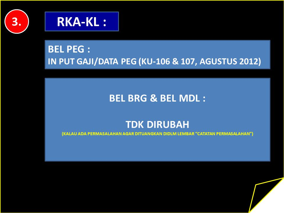 RKA-KL : 3. BEL PEG : BEL BRG & BEL MDL : TDK DIRUBAH