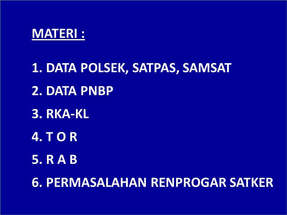 MATERI : 1. DATA POLSEK, SATPAS, SAMSAT. 2. DATA PNBP.