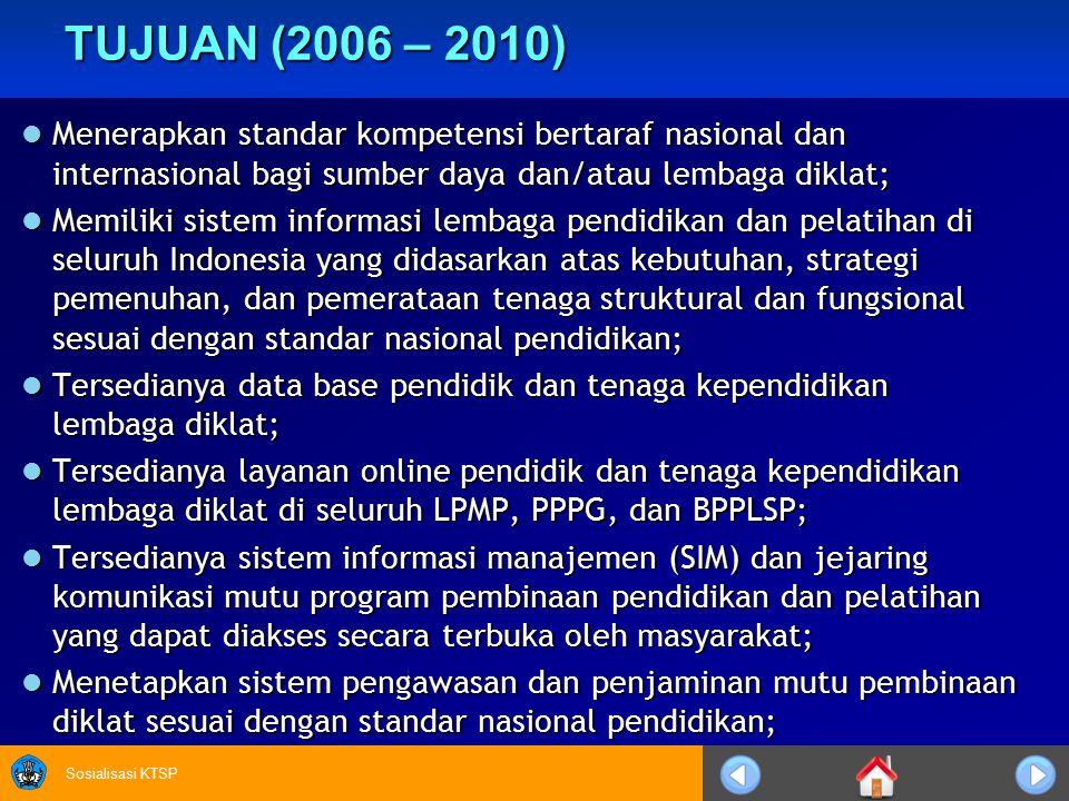 TUJUAN (2006 – 2010) Menerapkan standar kompetensi bertaraf nasional dan internasional bagi sumber daya dan/atau lembaga diklat;