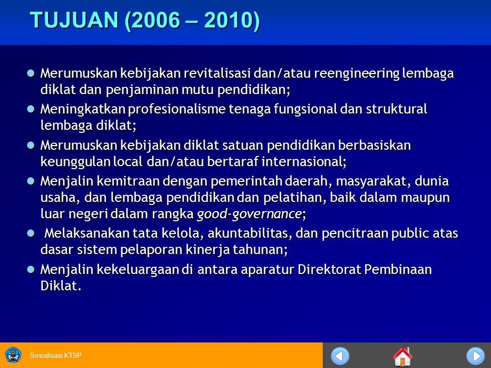 TUJUAN (2006 – 2010) Merumuskan kebijakan revitalisasi dan/atau reengineering lembaga diklat dan penjaminan mutu pendidikan;