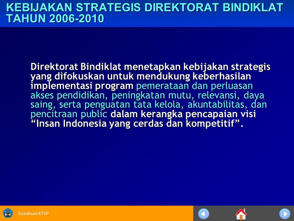 KEBIJAKAN STRATEGIS DIREKTORAT BINDIKLAT TAHUN 2006-2010