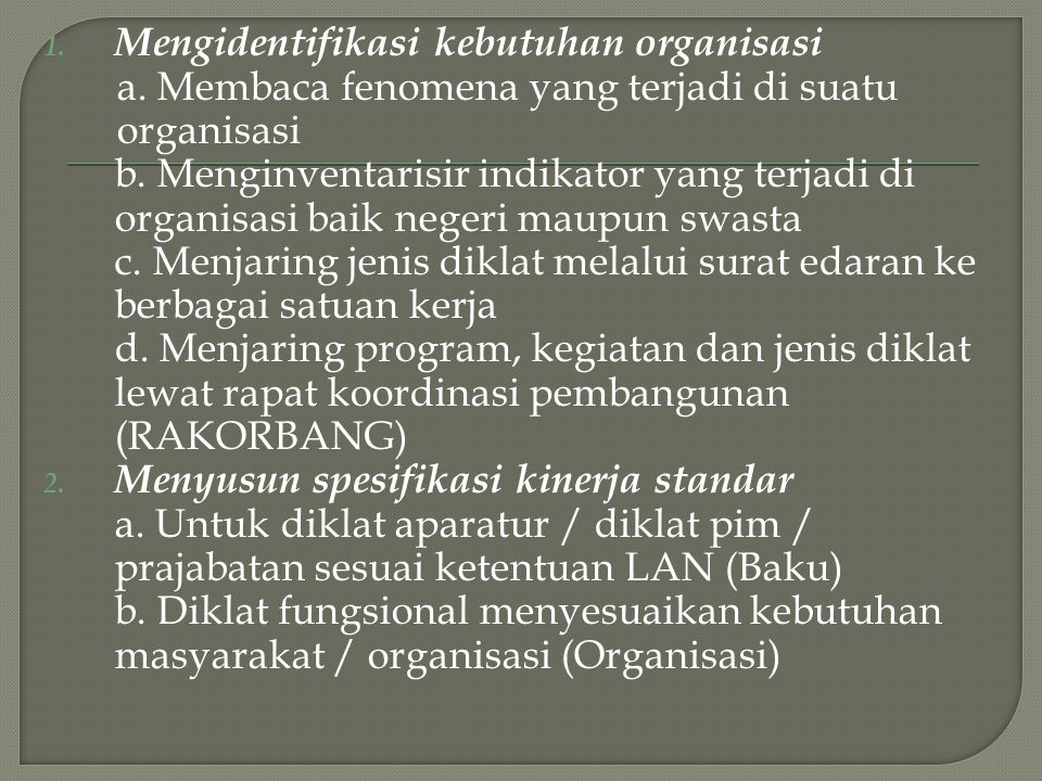 Mengidentifikasi kebutuhan organisasi