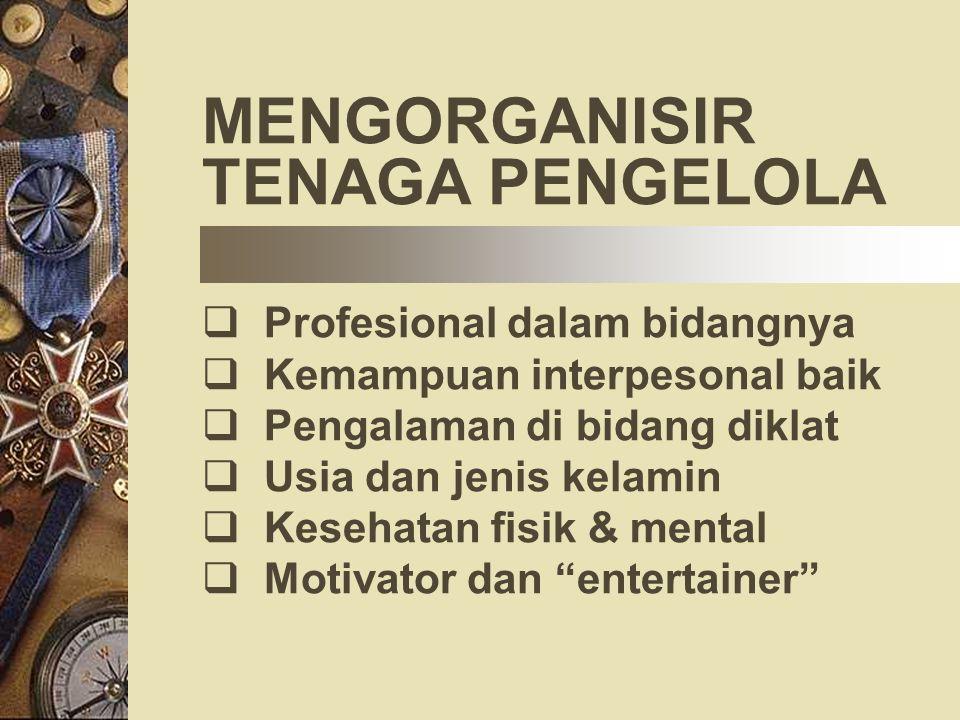 MENGORGANISIR TENAGA PENGELOLA Profesional dalam bidangnya