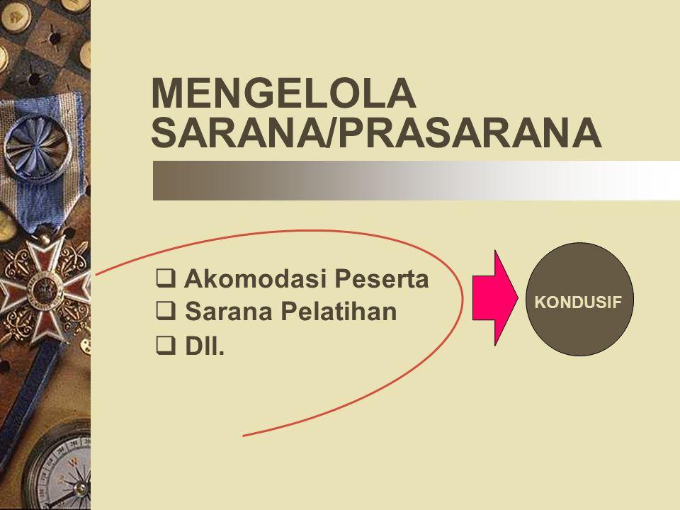 MENGELOLA SARANA/PRASARANA Akomodasi Peserta Sarana Pelatihan Dll.