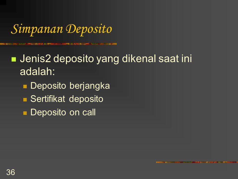 Simpanan Deposito Jenis2 deposito yang dikenal saat ini adalah: