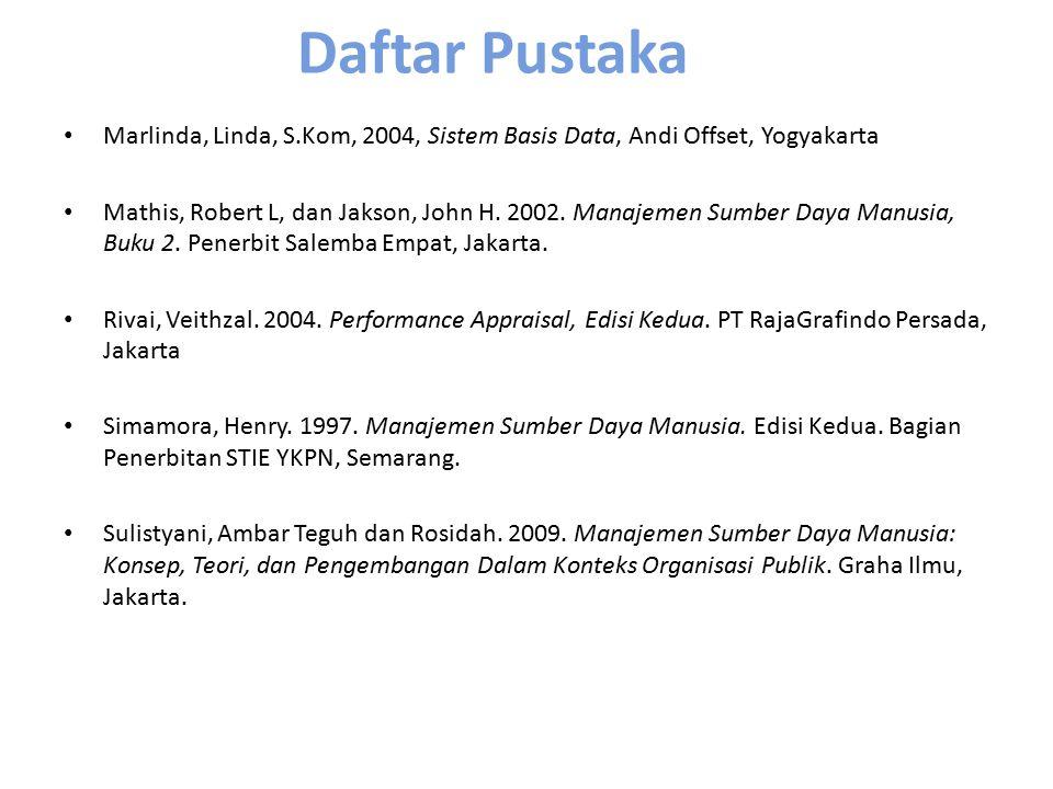 Daftar Pustaka Marlinda, Linda, S.Kom, 2004, Sistem Basis Data, Andi Offset, Yogyakarta.