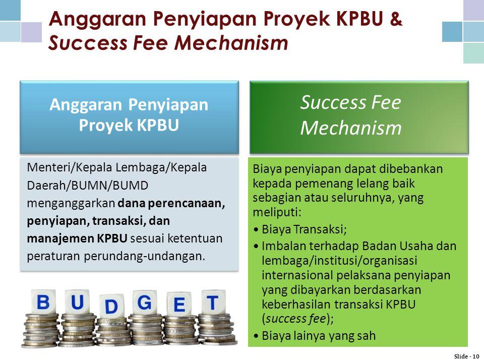Anggaran Penyiapan Proyek KPBU & Success Fee Mechanism