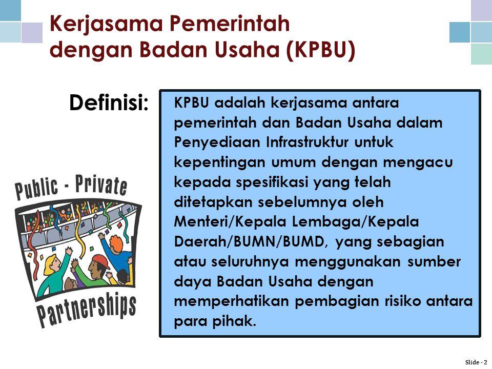 Kerjasama Pemerintah dengan Badan Usaha (KPBU)