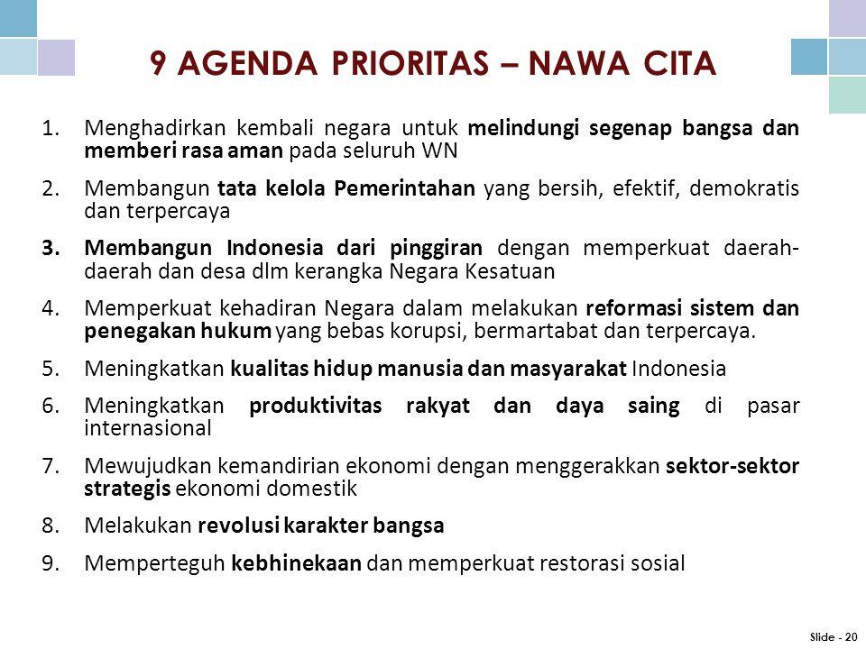 9 AGENDA PRIORITAS – NAWA CITA