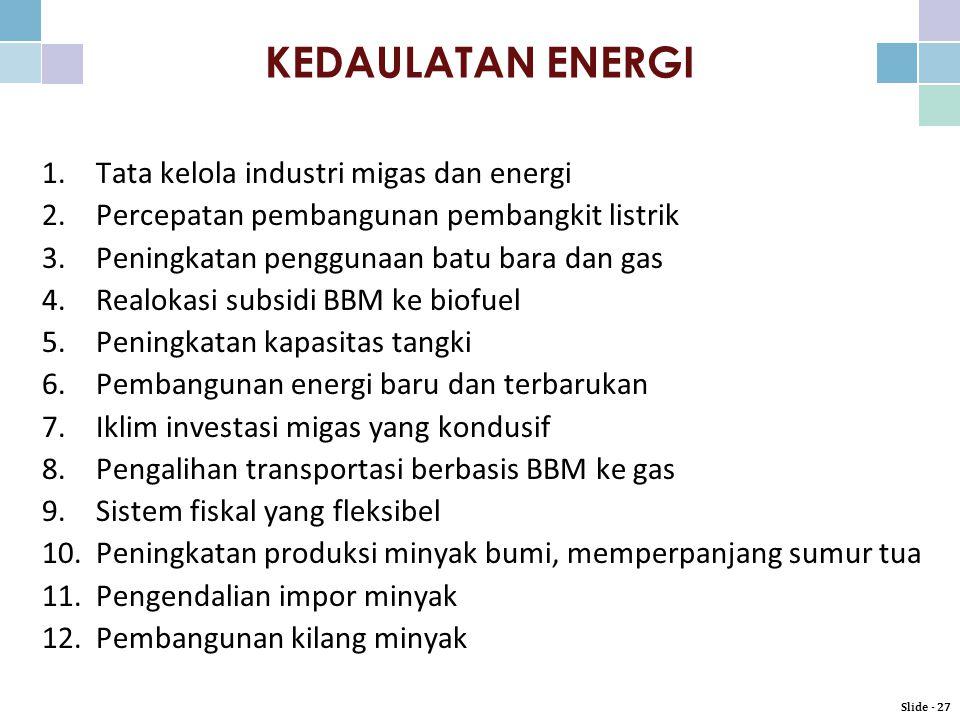 KEDAULATAN ENERGI Tata kelola industri migas dan energi