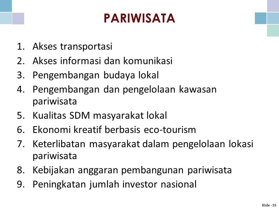 PARIWISATA Akses transportasi Akses informasi dan komunikasi