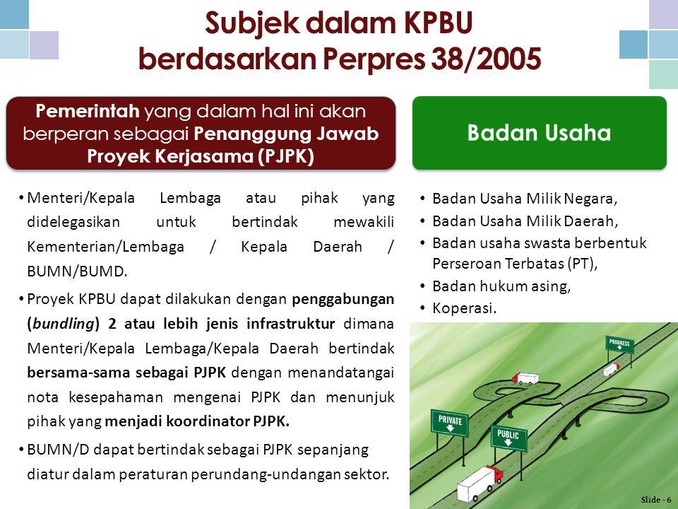 Subjek dalam KPBU berdasarkan Perpres 38/2005