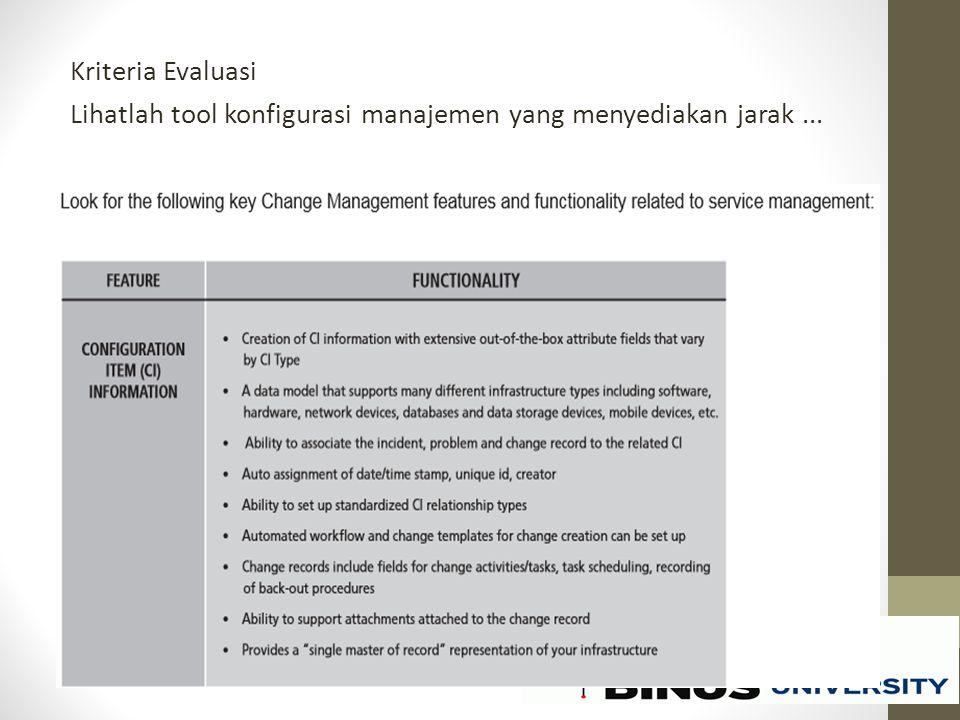 Kriteria Evaluasi Lihatlah tool konfigurasi manajemen yang menyediakan jarak ...