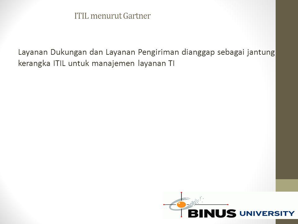 ITIL menurut Gartner Layanan Dukungan dan Layanan Pengiriman dianggap sebagai jantung kerangka ITIL untuk manajemen layanan TI.
