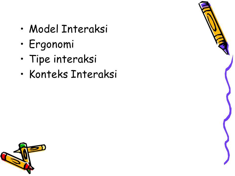 Model Interaksi Ergonomi Tipe interaksi Konteks Interaksi