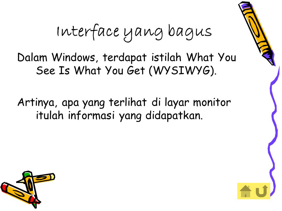 Interface yang bagus Dalam Windows, terdapat istilah What You See Is What You Get (WYSIWYG).